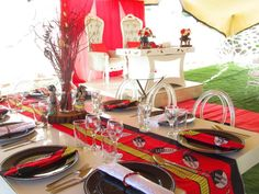 Swazi Traditional Decor Red and Black African Traditional Wedding Dress, Traditional Wedding Decor, African Wedding Theme, African Weddings, Wedding Decorations, Table Decorations, Wedding Ideas, Wedding Stage Design, Event Decor