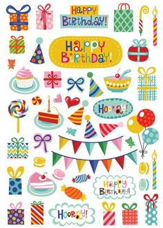 Happy Birthday stickers by Helen Dardik