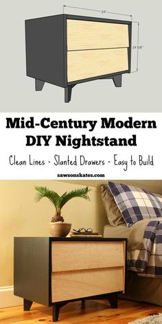 DIY Mid-Century Modern Nightstand - Add some Mid-Century Modern style ideas to your bedroom with these easy to build DIY nightstand plans. Diy Furniture Nightstand, Nightstand Plans, Handmade Wood Furniture, Diy Furniture Plans, Repurposed Furniture, Bedroom Furniture, Metal Furniture, Cheap Furniture, Crate Furniture