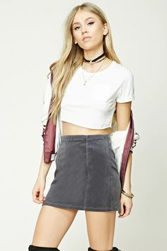 Style Deals - A corduroy mini skirt featuring an exposed back zipper and seam construction.