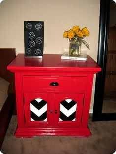 Beautiful Refinished End Table Bought Off Craigslist And Painted Red With White Black Chevron Pattern