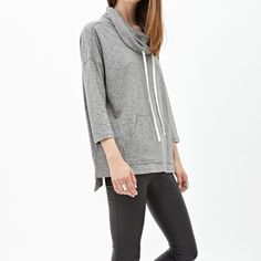 "F21 Heathered Knit Hoodie Worn just a handful of times. In like new condition. It's a small but fits loosely as displayed on the model. Has a functional ""kangaroo pocket"" in the front and 3/4 sleeves. 51% cotton and 49% polyester. No trades, please. [Photo courtesy of forever21.com] Forever 21 Tops Sweatshirts & Hoodies"
