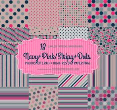 Navy Pink Polka Dots Patterns | Free PS Brushes and Patterns