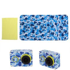 Blue Camouflage Sticker Skin Protector Case For XiaoMi Yi Sport Action Camera #UnbrandedGeneric