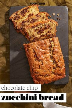 This Chocolate Chip Zucchini Bread recipe incorporates chocolate chips, zucchini, nutmeg, vanilla, and sour cream to create a moist and rich brunch recipe. Whether you're making this zucchini dish for breakfast, brunch, or dessert, it's a great choice for a summer recipe – but we'd eat it all year round!#zucchinibread #zucchinibreadrecipes #zucchinirecipes #breakfastandbrunch #brunchrecipes Chocolate Chip Zucchini Bread, Zucchini Bread Recipes, Chocolate Chips, Best Brunch Recipes, Summer Recipes, Quick Bread, Wine Recipes, Sour Cream, Vanilla