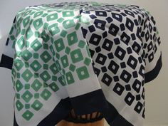Vintage Green Blue and White Geometric Scarf