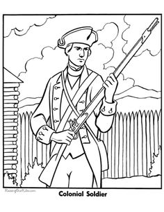 Military Coloring Page To Print Colonial Soldier