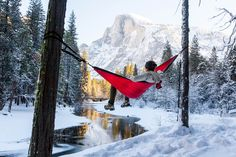Relaxing in a ENO hammock with a beautiful view of the snow covered Yosemite Valley.