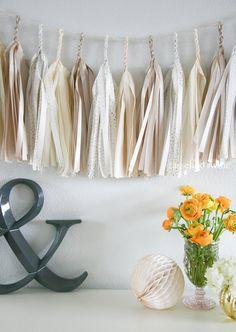 NEUTRAL SPARKLE tassel garland party decoration by tasselandtwine