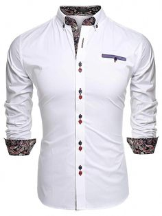 Coofandy Men's Fashion Slim Fit Dress Shirt Casual Shirt Material:Cotton Blend Style:Fashion,Casual Please check product description before ordering to ensure accurate fitting Slim Fit Dress Shirts, Slim Fit Dresses, Fitted Dress Shirts, Shirt Dress, Dashiki Shirt Mens, Casual Button Down Shirts, Casual Shirts, Stylish Shirts, Men's Shirts