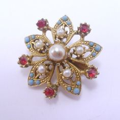 Antique vintage red rhinestone turquoise cabochon by jewelry715, $9.00