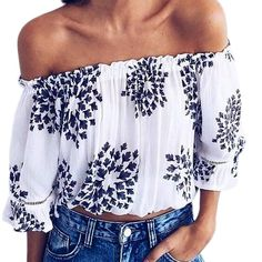 b0ab4706cf7 Off The Shoulder Three Quarter Butterfly Sleeve Print Strapless Casual Top  Strapless Tops