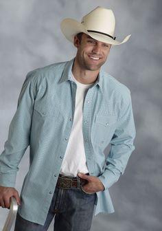 Roper® Mens Jade Green Checked Long Sleeve Pearl Snap Western Shirt