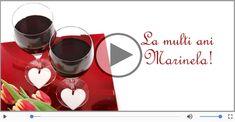 Felicitare muzicala - La multi ani, Marinela! Poster Generator, Orchestra, Red Wine, Alcoholic Drinks, Mugs, Tableware, Glass, Dinnerware, Drinkware