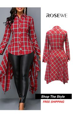Button Front Plaid Print Asymmetric Hem Shirt. New sign-ups get 5% off for all first orders, free shipping worldwide! 30 days unsatisfactory can easily return, check it out!