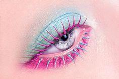 blue pink makeup