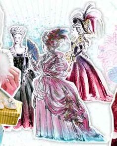 """Milena Canonero is one of my favorite costume designers.  She's another costume designer whose work really struck a chord with me at an early age.  I watched Sophia Coppola's """"Marie Antoinette"""" in middle school and loved Canonero's use of color. Plus, look at this beautiful and lively rendering!"""