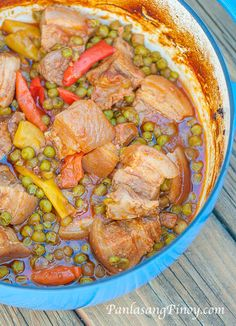Dutch Oven Pork Belly Stew Recipe _ I enjoyed having this Dutch Oven Pork Stew for dinner. It is delicious & the meat is very tender. Another good thing about this stew dish is that I do not need to keep an eye on it while cooking!