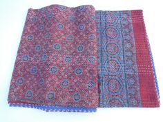 Handmade Hand Block Indigo Printed Kantha Quilt Throw Organic Vegetable Ajrakh Prints Bedspreads Bed Cover Blanket
