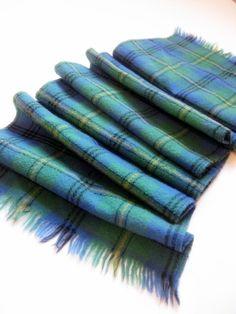 Wool Plaid Scarf, Vintage, Tartan, Plaid, Green, Blue,  by mailordervintage