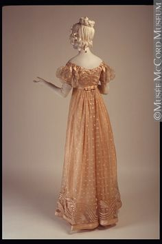 Evening dress, materials not listed (appears to be silk satin and net of some kind), c. 1815.