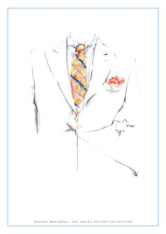 Illustration of the Brooks Brothers 'Great Gatsby' Ivory Linen set by Nas Abraham.  Art, Fashion, Menswear, mens fashion, LCM SS14, london mens collections, suit, style, mens style