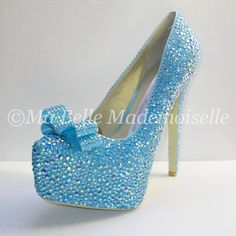 Bling Blue Wedding Shoes Bling Shoes Crystal by MademoiselleShoes