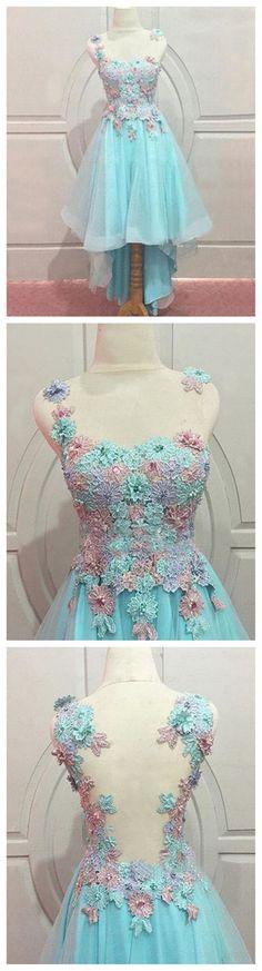 Lace Prom Dress, Blue Prom Dress, J