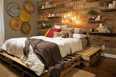 Adorn your bedroom main wall with pallet wood wall paneling. Its just amazing and creates an exotic environment. Skip luxurious headboards and let the pallet wood wall serve the same purpose with its warmth and coziness. Complement the wall with the rustic and casual bed. The dim lights will evoke romance in the air.