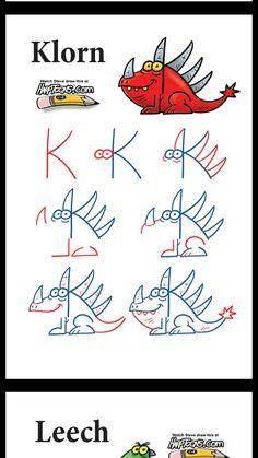 Cute Easy Drawings, Art Drawings For Kids, Drawing For Kids, Cartoon Drawings, Art For Kids, Pet Anime, Alphabet Drawing, Dinosaur Drawing, Note Doodles