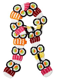 All the Sushi Details Scarf - Knit, Multi, Print, Kawaii, Quirky, Better, Knitted