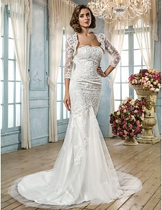 Trumpet/Mermaid Plus Sizes Wedding Dress - White Court Train Scalloped-Edge Tulle – USD $ 199.99