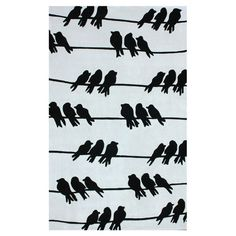 Perched Birds On A Wire - Rug.