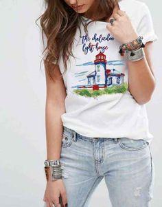 Paint Light House Bayan Tişört. Yüzde yüz pamuklu tişörtlere, canlı ve renkli özel tasarım baskı uygulamaları. Tişört Krallığı The Chalcedon