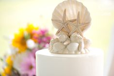 Sea-themed wedding cake at Seacoast Science Center ocean-front wedding in Rye, NH Wedding Cake Photos, Themed Wedding Cakes, Beach Cake Topper, Cake Toppers, Beach Cakes, Rye, Beach Themes, Unique Weddings, Wedding Reception
