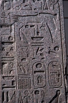 Hieroglyphics Close-up of hieroglyphics on tablets outside the Egyptian Museum…