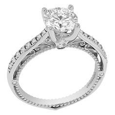 18k Gold WG Verragio Cubic Zirconia and 1/5ct TDW Diamond Side Stone Ring