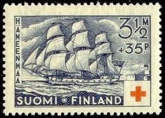 Postage stamp depicting the hemmema (from the Finnish name Hämeenmaa) class frigate Styrbjörn (commissioned 1790) of the Swedish archipelago fleet.