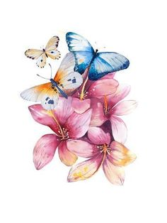 Spring Flowers in Pot. Shabby Chic St by krisArt : Butterfly Drawing, Butterfly Painting, Butterfly Watercolor, Butterfly Wallpaper, Watercolor Paintings, Blue Butterfly, Buda Wallpaper, Desenho Pop Art, Butterfly Pictures