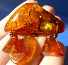j34 SUPER-Color Cognac Honey Natural Baltic AMBER gemstone jewelry BROOCH 10g
