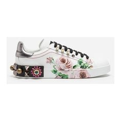 Dolce&Gabbana Sneakers in Printed Calfskin With Appliqués ($1,600) ❤ liked on Polyvore featuring shoes, sneakers, white, calfskin shoes, dolce gabbana trainers, calfskin sneakers, white sneakers and calf leather shoes