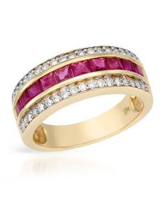 Ladies Ruby Ring Designed In 14K Yellow Gold