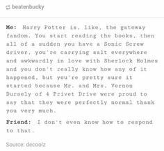 Is honestly is the gateway fandom though. Everyone apart of any fandom is in the Harry Potter fandom