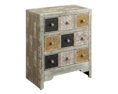 Rustic Multicolor 3 Drawer Accent Cabinet - Sam Levitz Furniture