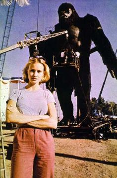 Jessica Lange on the set of King Kong (1976).