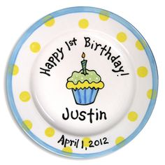 1st B-Day Cupcake Boys Hand-Painted Ceramic Plate