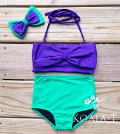 Dark Purple Bow Top & Teal Green High Waist by KoalaTFashion