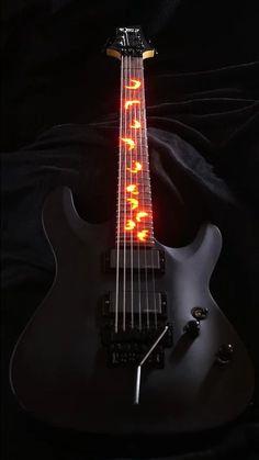 Light up guitar Schecter Damien illuminated inlay - Vintage guitars Guitar Art, Music Guitar, Cool Guitar, Playing Guitar, Guitar Chords, Music Music, Soul Music, Ukulele, Guitar Inlay