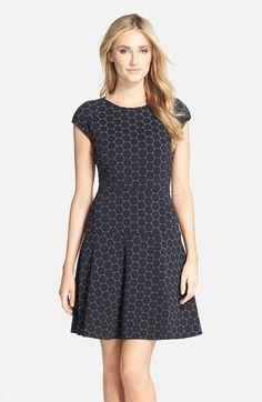 Julia Jordan Geometric Pattern Knit Fit & Flare Dress | Nordstrom