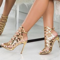 Shoespie Trendy Peep Toe Stiletto Heel Strappy Dress Sandals the world of shoes, offers all kinds of high quality women Stilettos, Pumps Heels, Stiletto Heels, Gold Heels, Gold Prom Shoes, Strap Heels, Cute Shoes, Fancy Shoes, Prom Heels
